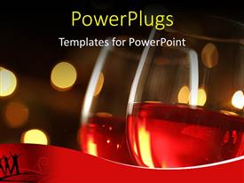 PowerPlugs: PowerPoint template with wineglass with red illuminated defocused christmas lights