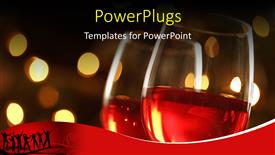 PowerPoint template displaying wineglass with red illuminated defocused christmas lights