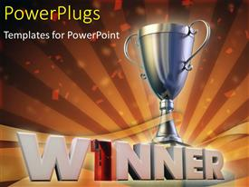 PowerPlugs: PowerPoint template with the winning cup with celebration material in background