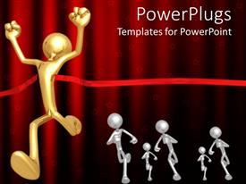 PowerPlugs: PowerPoint template with winning metaphor with man running through red ribbon at end of race, finish line