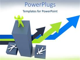 PowerPlugs: PowerPoint template with winning success metaphor with man celebrating and arrows