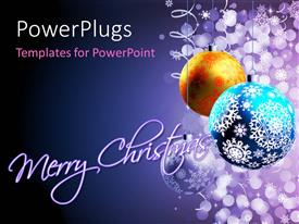 PowerPlugs: PowerPoint template with winter background with Christmas decoration, balls for Xmas design and Merry Christmas keyword in foreground