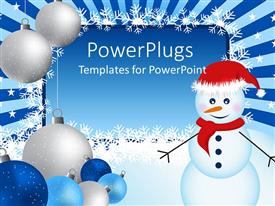 PowerPlugs: PowerPoint template with winter border with Christmas ornaments, snowman and snowflakes