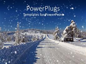 PowerPlugs: PowerPoint template with winter snow covered road and trees road snow plowed