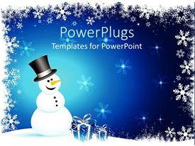 PowerPlugs: PowerPoint template with winter theme with happy smiling snowman and blue gift boxes with silver ribbons on snowflake setting and blue background