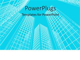 PowerPoint template displaying wireframe of office buildings in blue