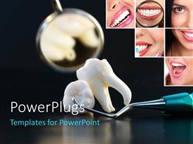 PowerPlugs: PowerPoint template with the wisdom tooth with a mirror in the background