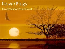PowerPlugs: PowerPoint template with withered tree and Eagle with sunset over river surface