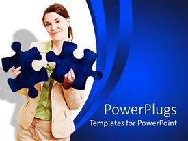 PowerPlugs: PowerPoint template with woman in beige suit holds blue jigsaw puzzle pieces