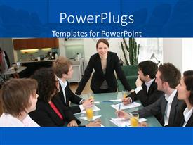 PowerPlugs: PowerPoint template with woman in black power suit leads business meeting