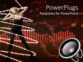 PowerPlugs: PowerPoint template with woman in black wearing headphones and dancing while surrounded by strings of light