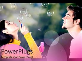 PowerPoint template displaying woman blowing bubbles while man watches
