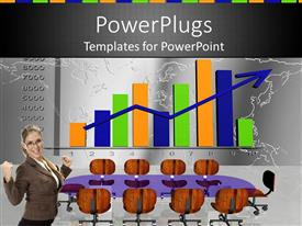 PowerPoint template displaying woman doing finance presentation with charts and empty chairs