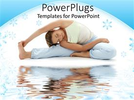 PowerPlugs: PowerPoint template with woman doing seated yoga pose next to water body in white background