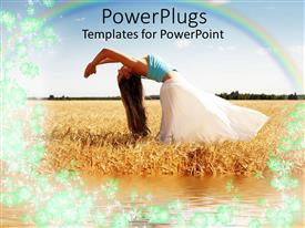 PowerPlugs: PowerPoint template with woman doing yoga in meadow with rainbow overhead in field with water