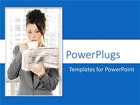 PowerPoint template displaying woman drinking coffee and reading newspaper