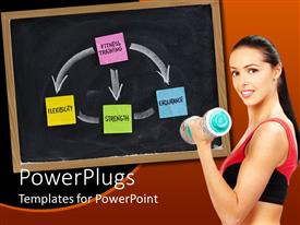 PowerPoint template displaying woman with dumbbell performing fitness training and black chalkboard with colorful sticky notes connected through arrows fitness training flexibility strength endurance