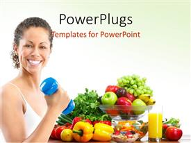 PowerPlugs: PowerPoint template with woman fitness working out exercise health with fresh fruitsand vegetables