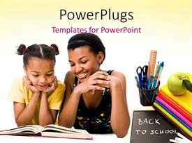 PowerPlugs: PowerPoint template with woman and girl reading the book together with green apple on books, slate with back to school written and white color