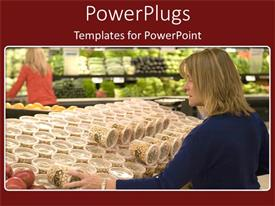 Presentation theme with woman in grocery store shops for food