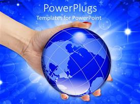 PowerPlugs: PowerPoint template with woman hand holding abstract glowing globe on blue background with stars and bubbles