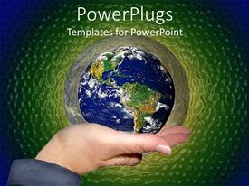 PowerPoint template displaying woman hand holding planet earth surrounded by green and blue background