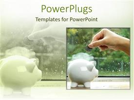 PowerPlugs: PowerPoint template with woman hand inserting coin in piggy bank with rain drops on window