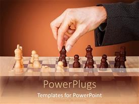 PowerPoint template displaying woman hand moving a chess piece, wooden chess set on wooden table