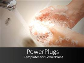PowerPlugs: PowerPoint template with woman hands with soapsuds under running water washing hands in white sink