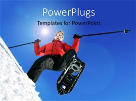 PowerPlugs: PowerPoint template with a woman happy while skiing and sky in the background
