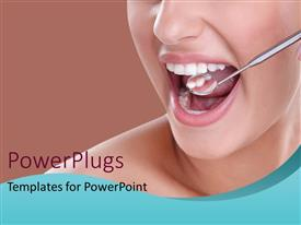 PowerPlugs: PowerPoint template with woman having dental examination with dental equipment checking dentition