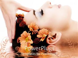 PowerPlugs: PowerPoint template with woman head receiving massage, flowers in hair, reflecting in water