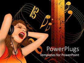 PowerPlugs: PowerPoint template with woman with headphone sings aloud with music symbols on white background