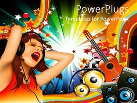 PowerPlugs: PowerPoint template with woman with headphones singing with guitar and speakers in background