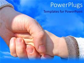 PowerPlugs: PowerPoint template with woman holding a child's hand with blue cloudy sky in background