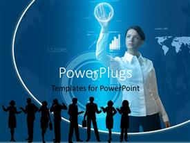 PowerPlugs: PowerPoint template with a woman holding a circle on the screen and a number of professionals on the front