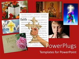 PowerPoint template displaying woman holding a cross with faith theme