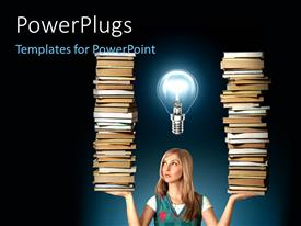 PowerPlugs: PowerPoint template with a woman holding a lot of books with a bulb above her face