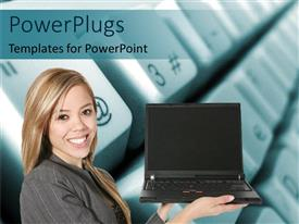 PowerPoint template displaying woman holding open laptop for display on computer keyboard background