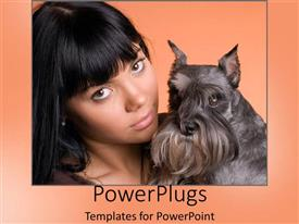 PowerPoint template displaying woman hugging schnauzer on orange background