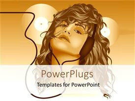 PowerPlugs: PowerPoint template with woman listening to headphones with records in background