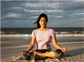 PowerPoint template displaying woman meditating on beach at sunrise, meditation, yoga