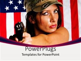PowerPlugs: PowerPoint template with woman in military hat holding gun with US flag in background