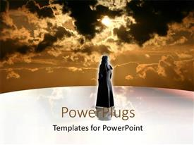 PowerPlugs: PowerPoint template with a woman with a number of clouds in the background