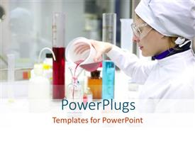 PowerPlugs: PowerPoint template with woman performing experiment with chemicals and beakers in chemical research laboratory