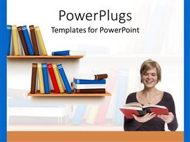 PowerPoint template displaying woman reading book with bookshelf, education, college, learning