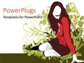 PowerPoint template displaying woman in red and burgundy sitting next to green silhouette of plants