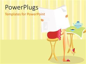 PowerPlugs: PowerPoint template with woman in red dress reading newspaper at table with teapot and cup