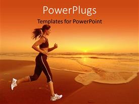 PowerPlugs: PowerPoint template with woman running on the beach with a beautiful sunset