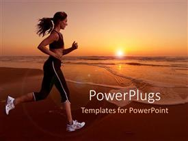 PowerPlugs: PowerPoint template with woman running on a beach with beautiful sunset